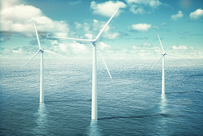 Three turbines in an offshore windfarm