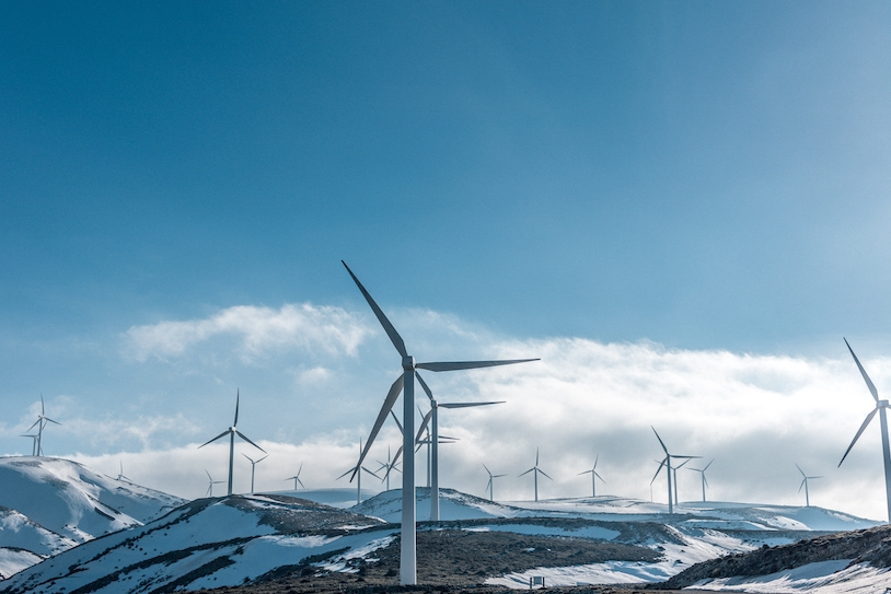 Wind turbines on a mountain top