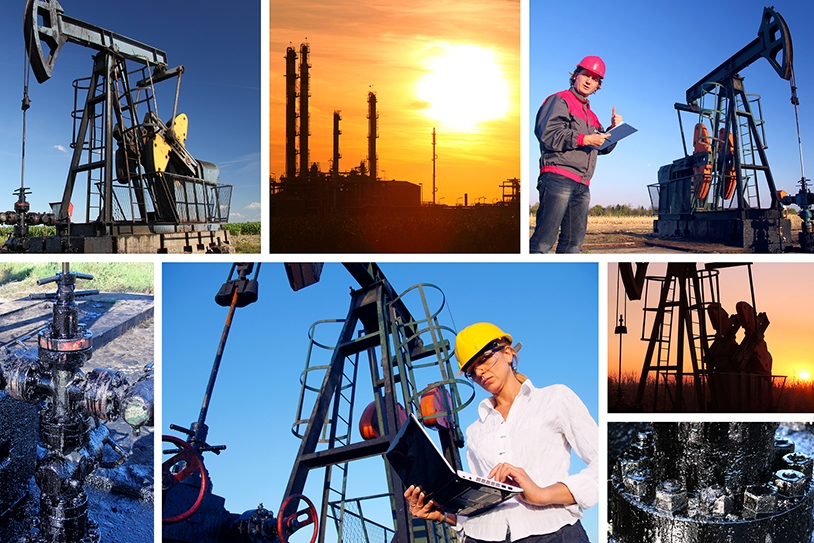 Young workers in an oil field